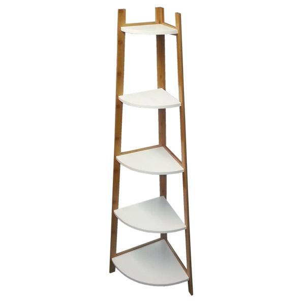 MUEBLE 5 Estantes Esq. Bamboo/Bco. 37cmx37cmx150cm H