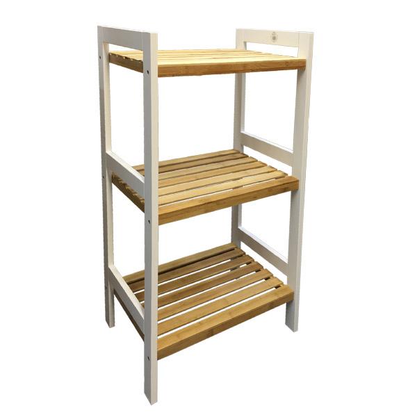 MUEBLE 3 Estantes Bamboo/Bco. 45cmx32cmx80cm H