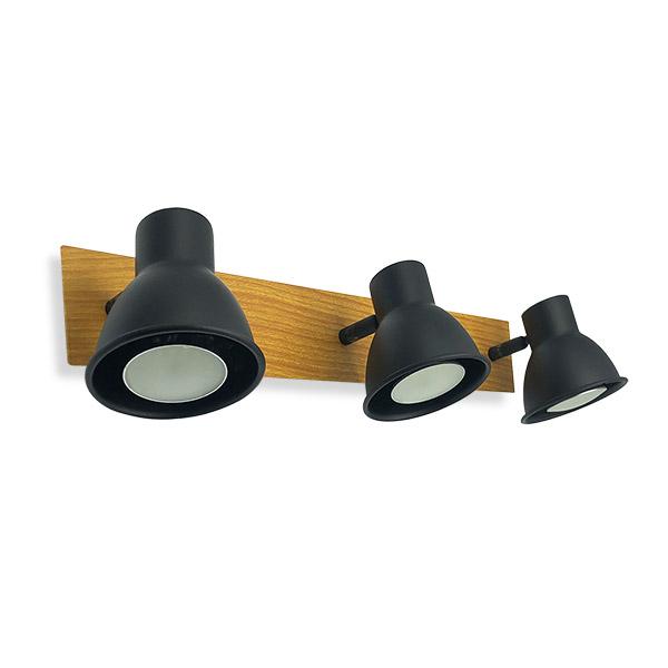 Spot RETRO 3 Luces GU10 Negro/Mad.42*7cm