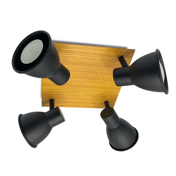Spot RETRO 4 Luces GU10 Negro/Mad.21*21cm