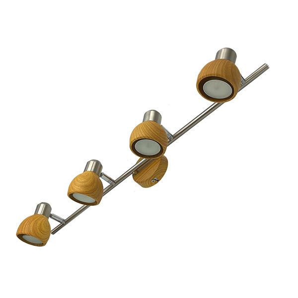 Spot RONI 4 Luces GU10 Acero/Mad.L:64.5cm