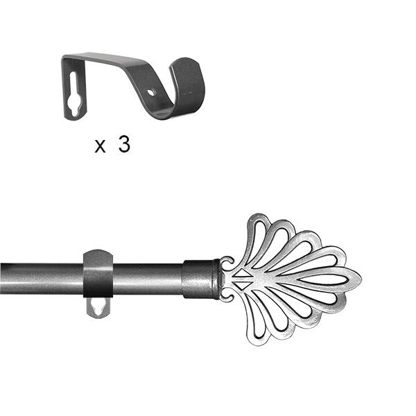 BARRAL Extensible 110-210 cm Gris Plata Hoja
