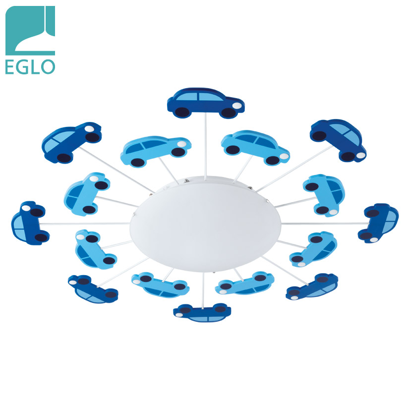 Plafón Viki1 1 Luz E27 Azul Deco Vidrio EGLO 63cm Ø