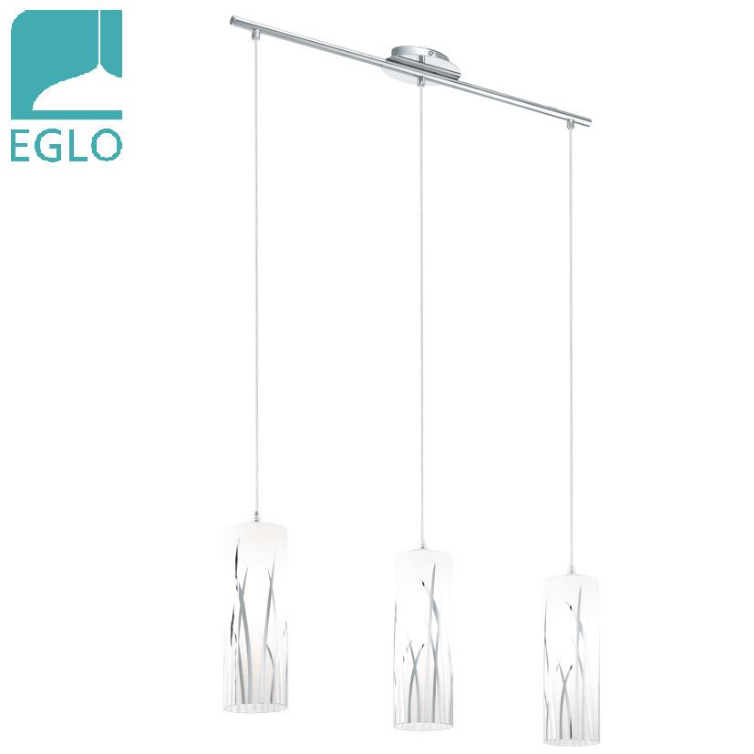 Colgante Rivato 3 Luces E27 Blanco Acero EGLO 7cm Ø / 1.10mts h
