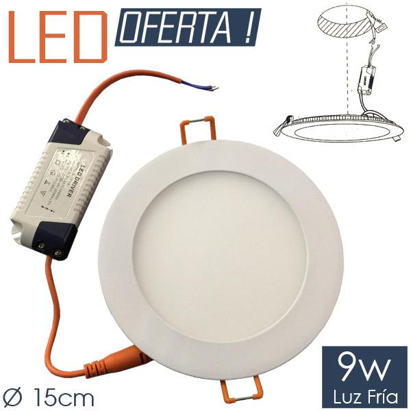 LED Emb. Redondo 9w FRIO Ø 15cm Aluminio y Vidrio