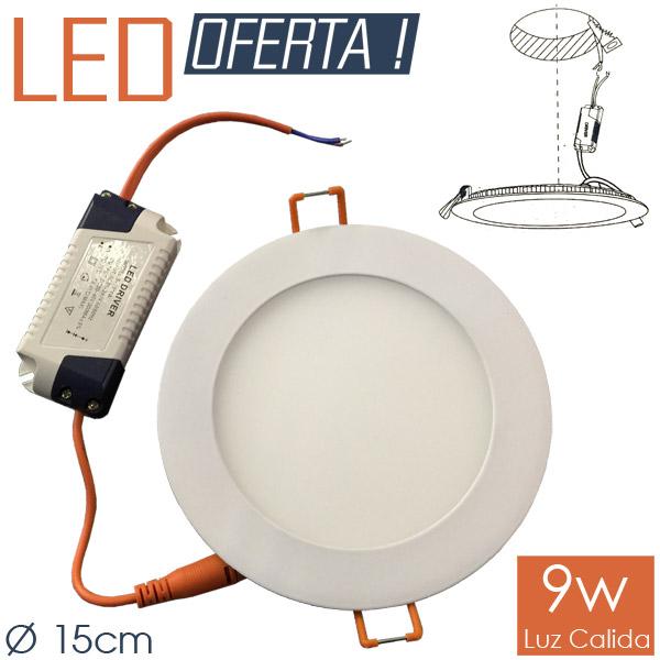 LED Emb. Redondo 9w CALIDO Ø 15cm Aluminio y Vidrio