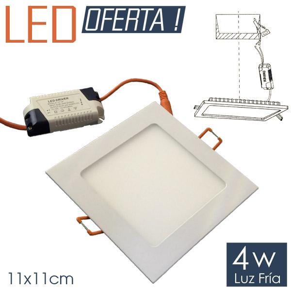 LED Emb. Cuad. 4w FRIO 11x11cm. Aluminio y Vidrio 4cm h