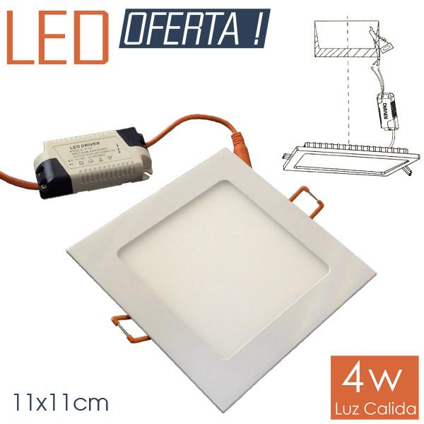 LED Emb. Cuad. 4w CALIDO 11x11cm Aluminio y Vidrio 4cm h