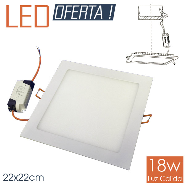 LED Emb. Cuad. 18w CALIDO 22x22cm Aluminio y Vidrio 4 cm h
