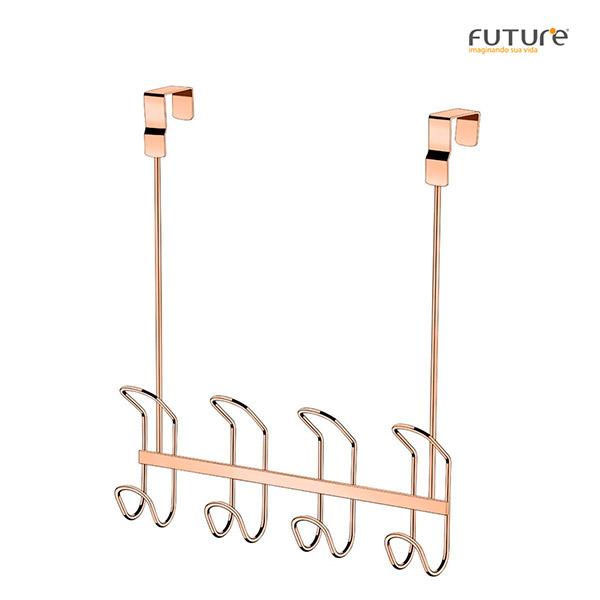 COLGADOR Multiuso p/puerta 4 ganchos Rose Gold FUTURE 9x30x45cm h