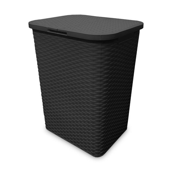 CESTO p/Ropa Negro Plastico 41x32 / 61cm H