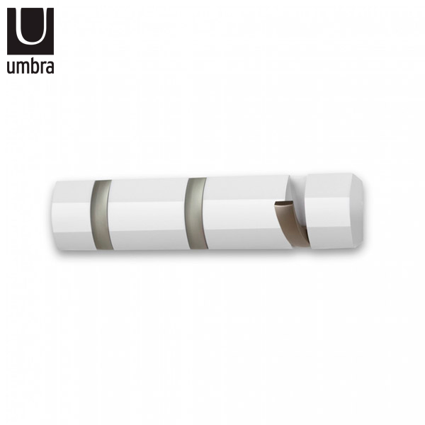 PERCHERO Flip 3 Ganchos Blanco/Niquel 30cmx6cm/3cm UMBRA
