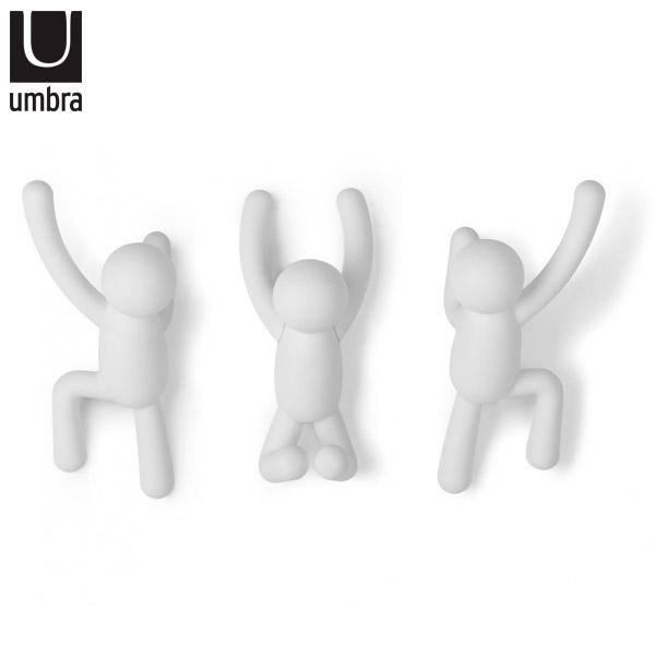 GANCHOS x 3 Buddy Blanco UMBRA 7.6 x 16.5 x 7.6 cm / Soporta 2.3kg c/u