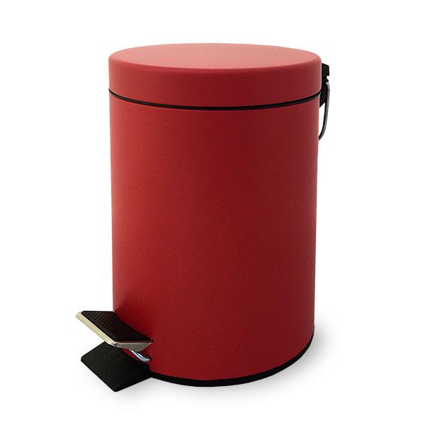 CESTO c/Pedal 3lts Rojo Mate Metal Ø 17cm/ H 27cm
