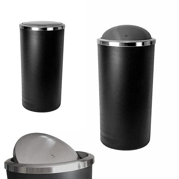PAPELERA 35Lts. Lenox Negra 30x56cm Plástico