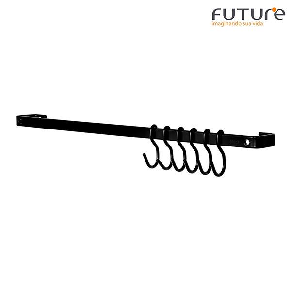 BARRA Ganchera Piatina Negro FUTURE 45cm c/6 ganchos