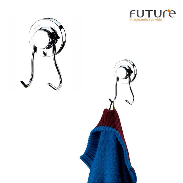 PERCHA Doble Cromado FUTURE c/Ventosa 4.5x7x13cm H