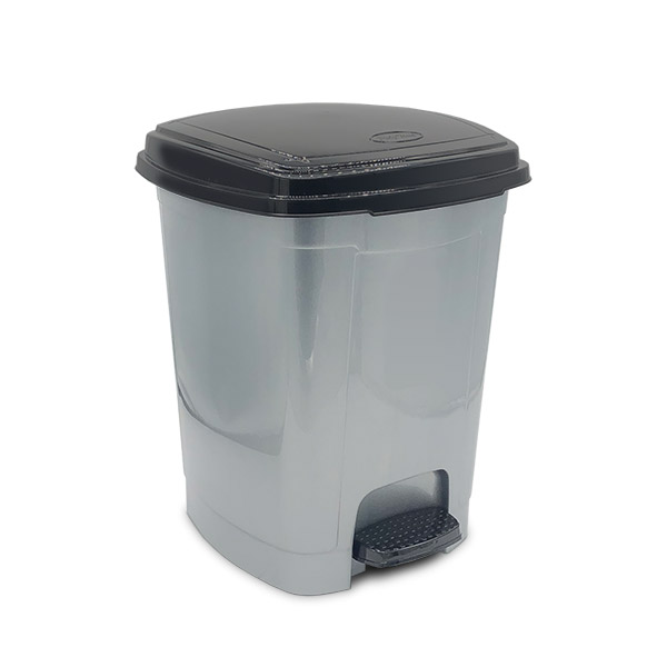 CESTO Resiudos c/Pedal 12 lts Plástico Gris/Negro