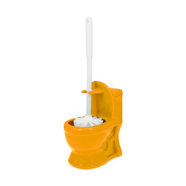 CEPILLO Inodoro WC Ceramica Liso Amarillo