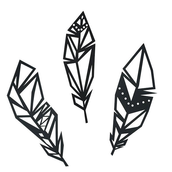 APLIQUE Decorativo Conjunto 3 Plumas Negro