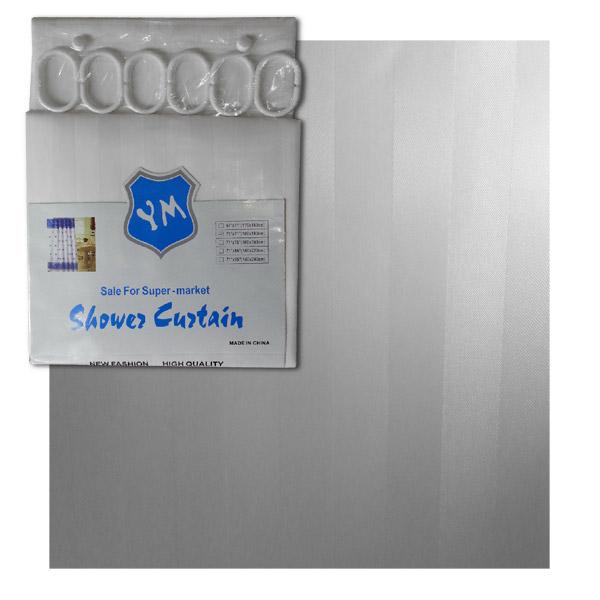 Cortina 180x180 Teflon Blanca Rayas Anti-Hongos c/Argollas Plásticas