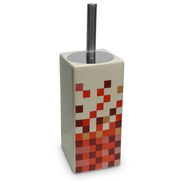 Escobilla Mosaico Naranja Cerámica 10x10cm/32.5cm h