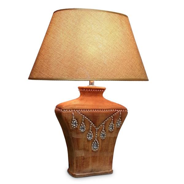 Lampara de Mesa Collier Gde. Ceramica E14 Base 7x14cm / 46cm h