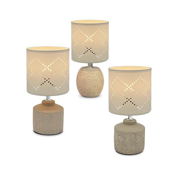 LAMPARA Ceramica Con Pantalla Alpes Beige Ø13/26cm H