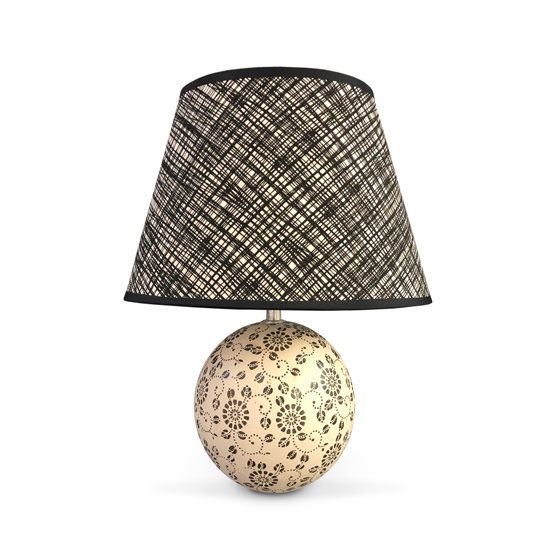 LAMPARA Ceramica c/Pantalla Peluzzo Beige/Marron 42cm H