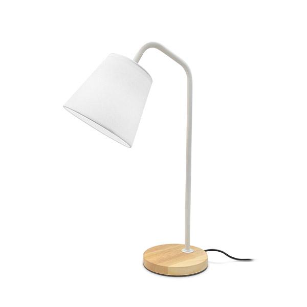 LAMPARA Blanca Metal-Madera Blanca 49cm H