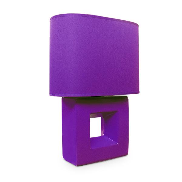 LAMPARA Ceramica Cuadrada c/Pant. Violeta 30cm h