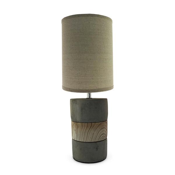 LAMPARA Ceramica/Cemento Franja Beige c/Pant. Gris 11.5Ø 45h