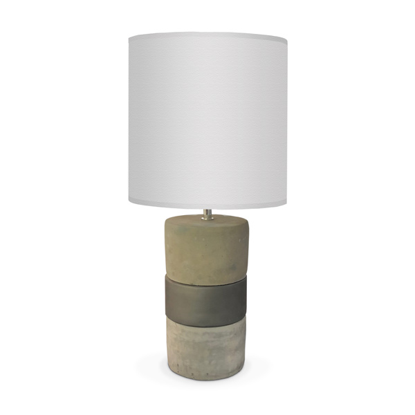 LAMPARA Ceramica/Cemento Franja Gris c/Pant. Gris