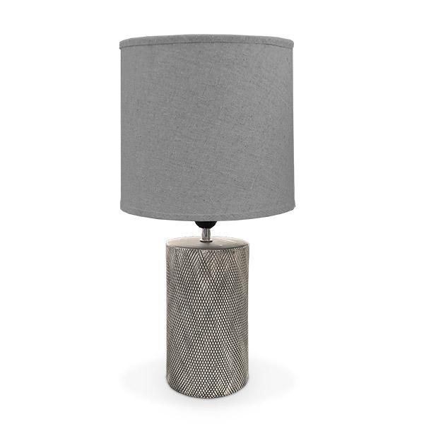 LAMPARA Ceramica c/Pant Texturada Gris Ø20cm/40cm H