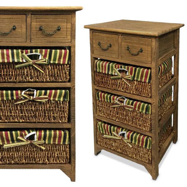Petit Mueble 3 Cestos y 2 Cajones Madera 40x30 /76cm h
