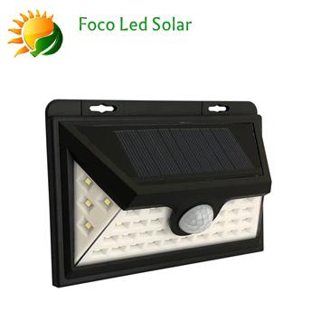 APLIQUE Led Solar Negro c/Célula 2 Potencias 6000ºk