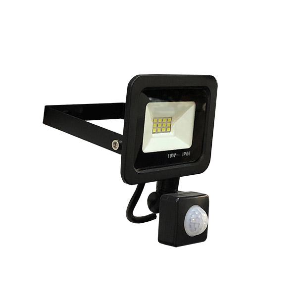 LED Reflector 10w c/Sensor Negro Frio Dense IP66