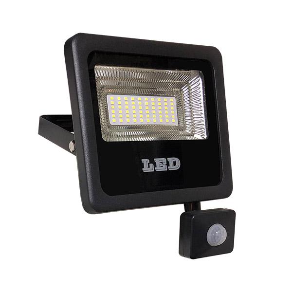 LED Reflector 30w c/Sensor Negro Frio Dense IP66