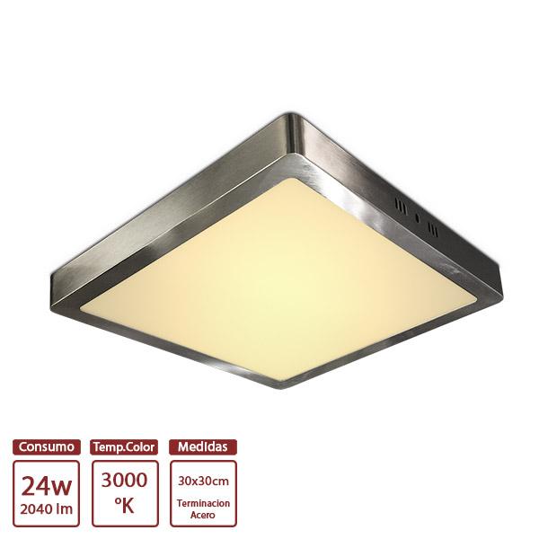 LED Plafon Acero Cuad. 24w Cálido 30x30 /3.2cm h