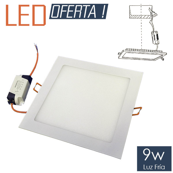 LED Emb. Cuadrado 9w FRIO 15cm Alum.y Vidrio Blanco